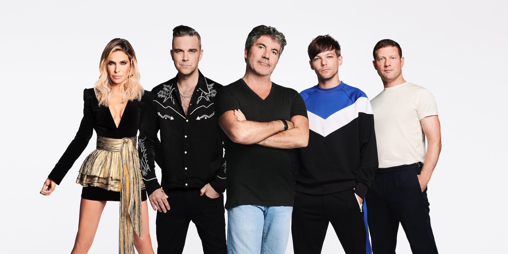 X Factor: Robbie Williams, Ayda Field, Simon Cowell, Louis Tomlinson, Dermot O'Leary (00:01 UK time 28th August 2018)