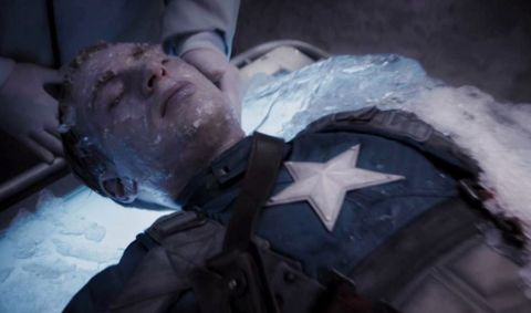Captain America (Chris Evans) frozen in The First Avenger Capsicle
