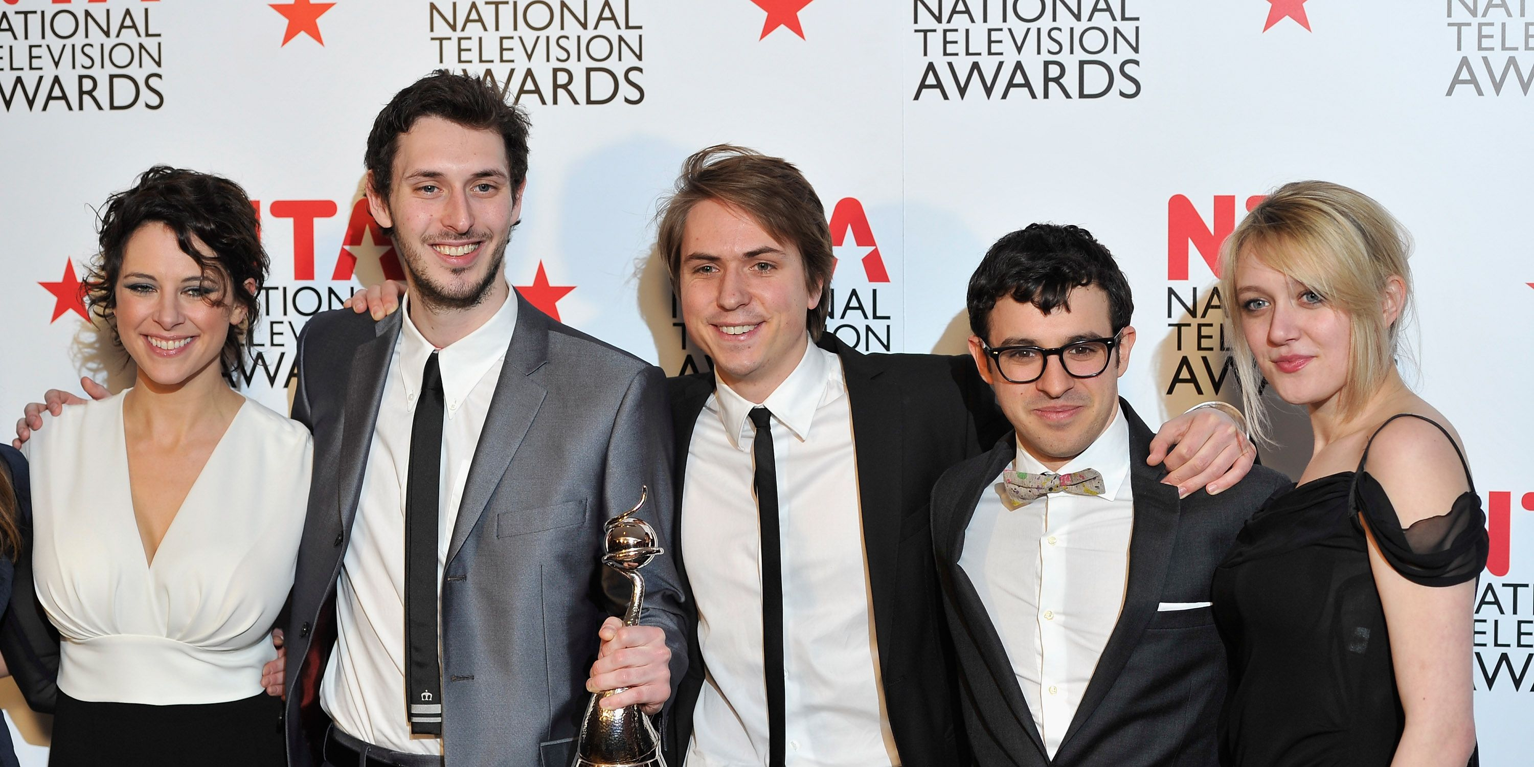 Emily Head with the cast of The Inbetweeners in 2011
