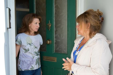 Carmel Kazemi receives a visit from Sophie in EastEnders