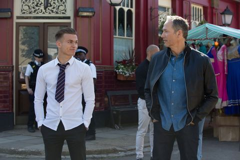 Hunter Owen shows Ray Kelly the Square in EastEnders