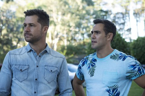 Mark and Aaron Brennan spy Chloe with a mystery client in Neighbours