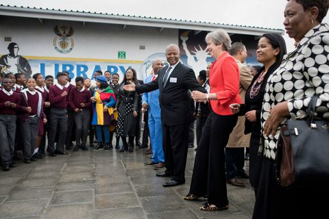 Theresa May dances in South Africa