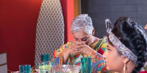 Misbah Maalik gets stressed at the family meal in Hollyoaks