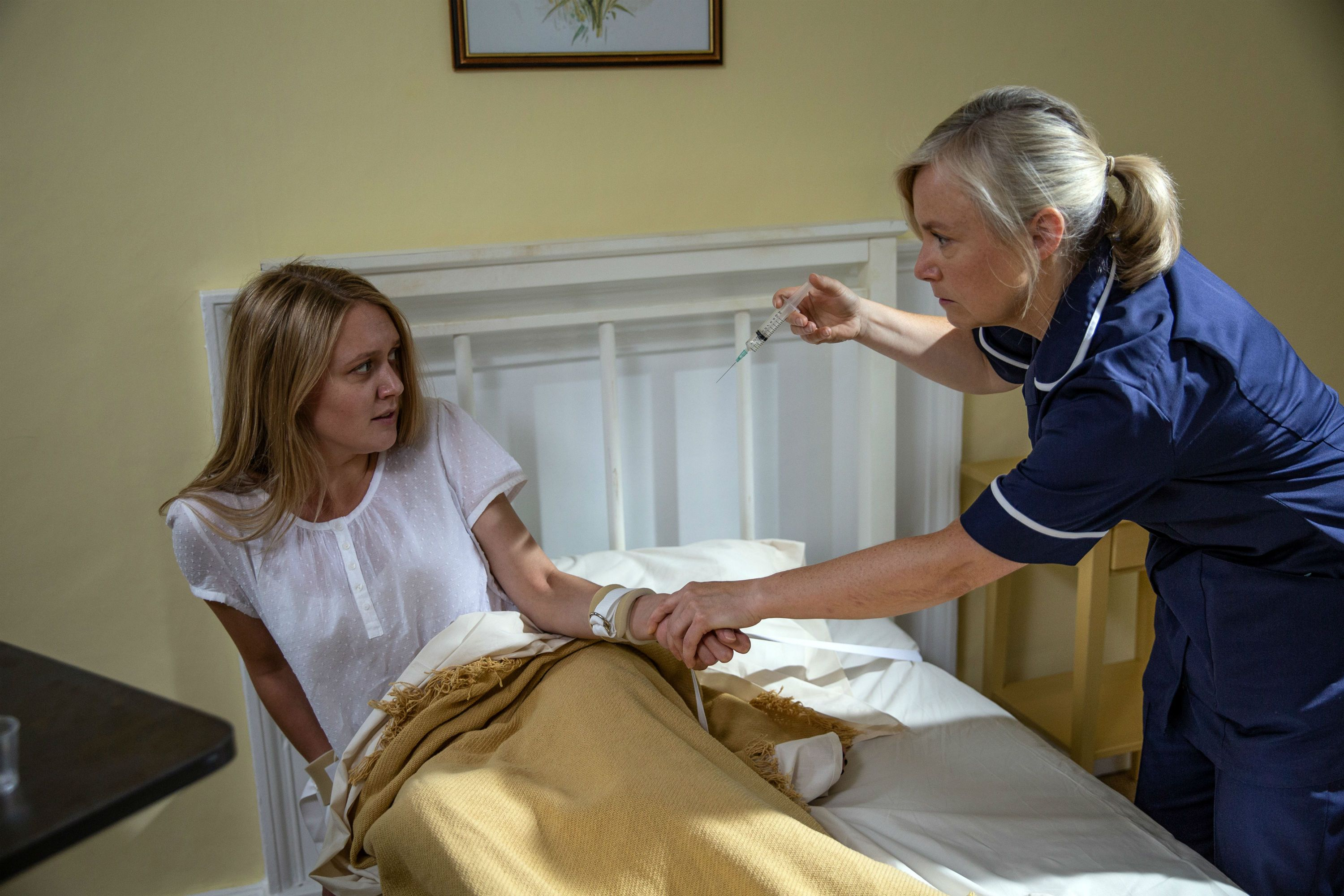 Rebecca White with the nurse in Emmerdale