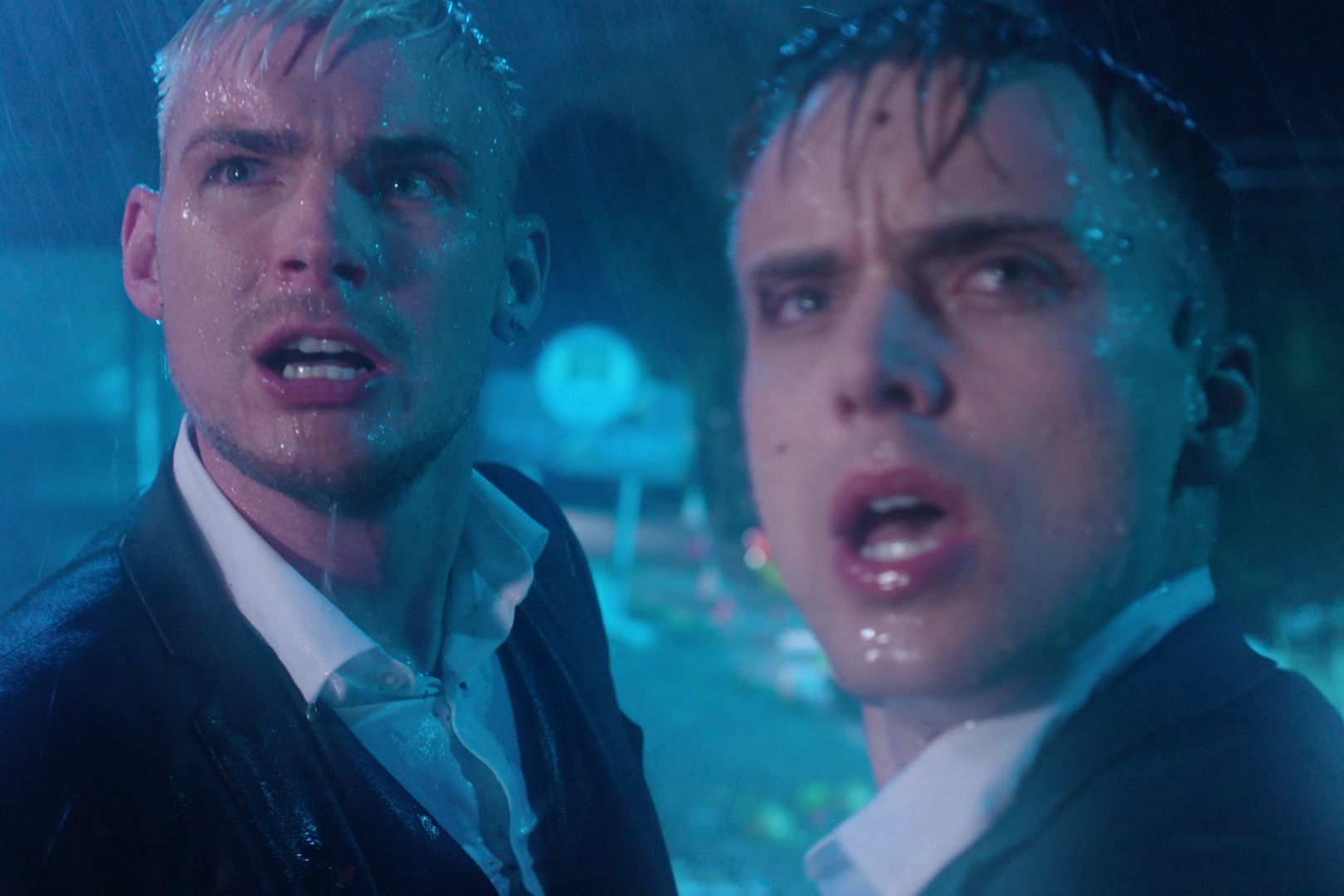 Ste Hay and Harry Thompson in the Hollyoaks storm
