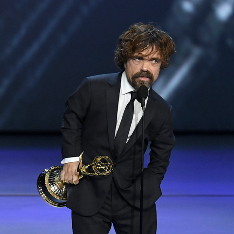 Peter Dinklage accepts the Outstanding Supporting Actor in a Drama Series award for 'Game of Thrones' onstage during the 70th Emmy Awards at Microsoft Theater