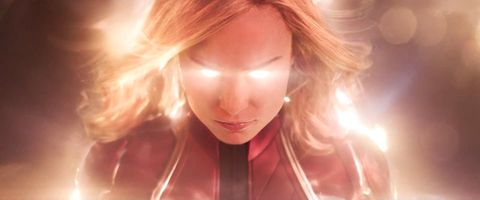 Brie Larson as Carol Danvers in red blue and gold Captain Marvel costume