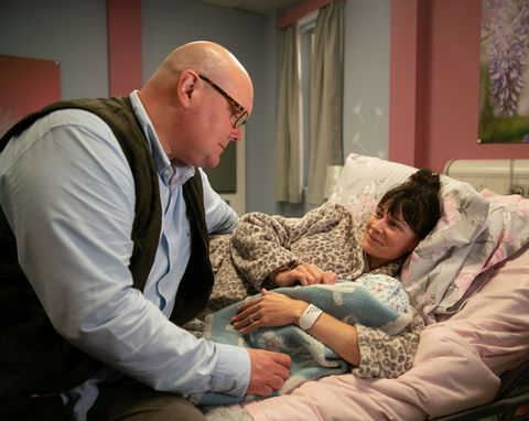Chas Dingle and Paddy Kirk at the hospital with baby Grace in Emmerdale