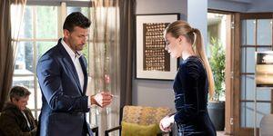 Pierce Grayson sees Chloe Brennan's business card in Neighbours