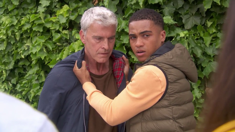 Hunter McQueen confronts Mac Nightingale in Hollyoaks
