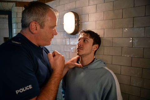 Ryan Connor is threatened by a police officer in Coronation Street