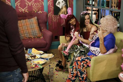 The McQueens celebrate at Cleo's hen party in Hollyoaks