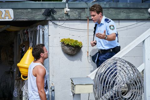 Dean Thompson and Colby Thorne argue in Home and Away