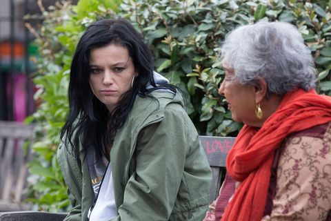 Hayley Slater is supported by Mariam Ahmed in EastEnders
