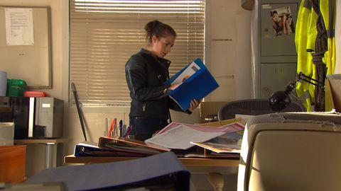 Victoria Barton investigates Adam Barton's whereabouts in Emmerdale