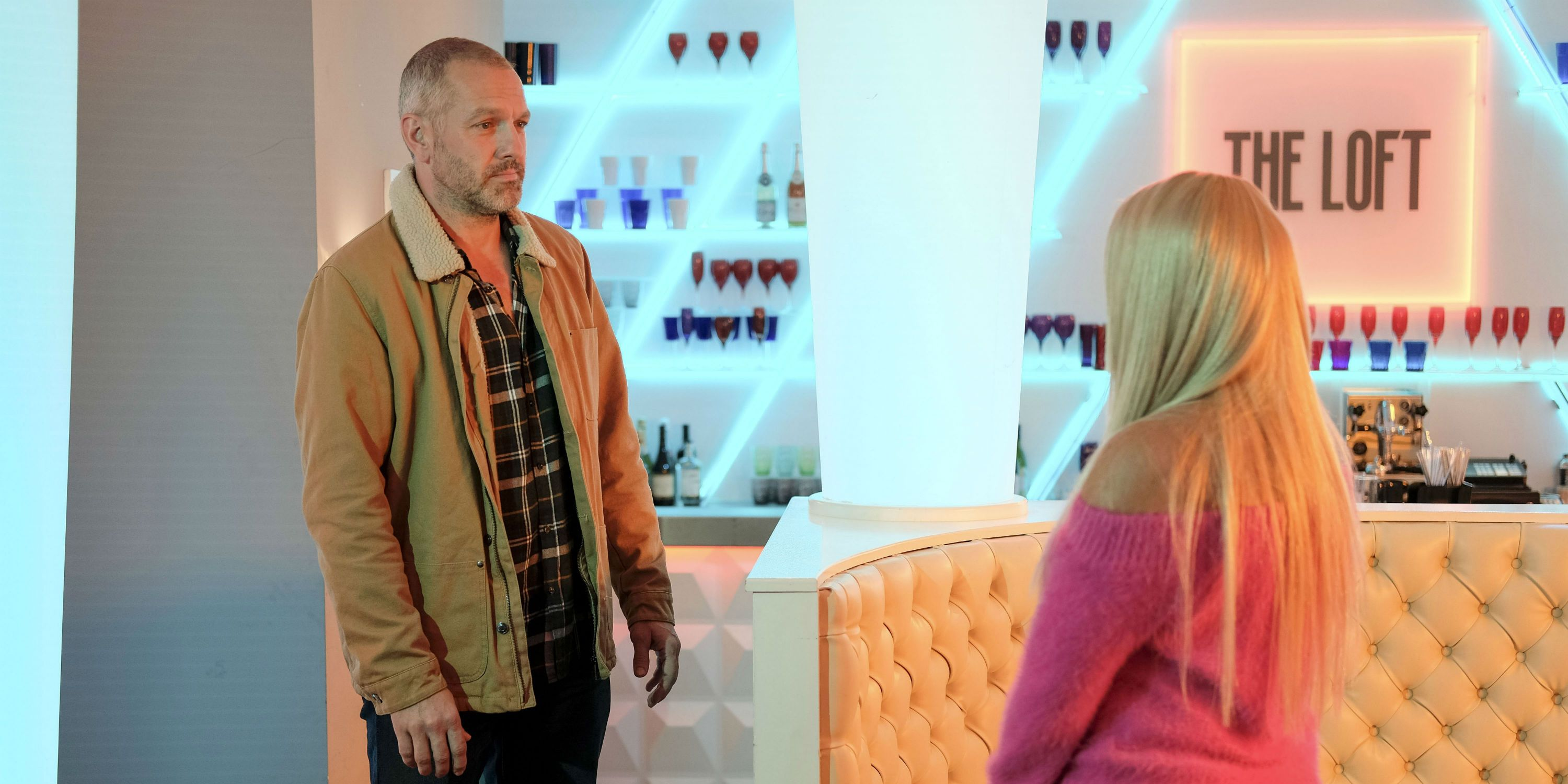 Glenn Donovan confronts Grace Black in Hollyoaks
