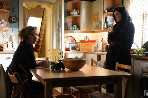 Hayley Slater is visited by a social worker in EastEnders