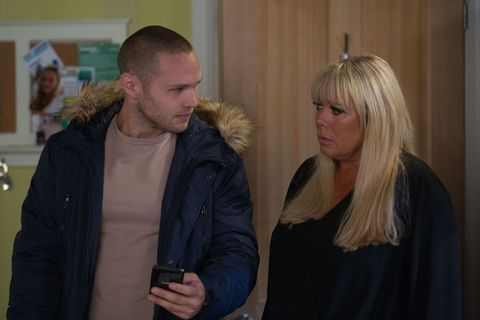 Keanu Taylor tells Sharon Mitchell about the blackmailer in EastEnders