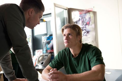 Cassius Grady receives a visit from Tyler Brennan in Neighbours