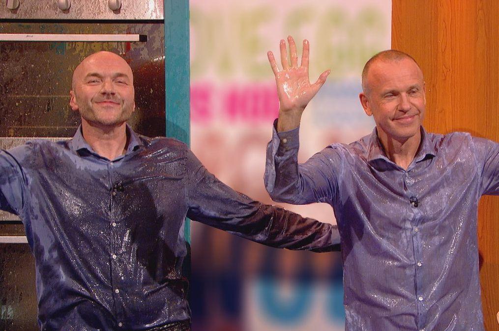 Sunday Brunch hosts Simon Rimmer and Tim Lovejoy on Celebrity Juice