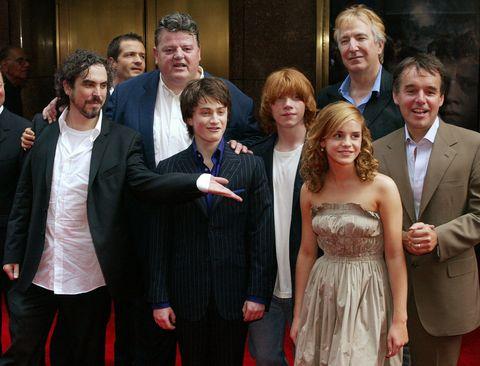 Director Alfonso Cuaron, producer David Heyman, Robbie Coltrane, Daniel Radcliffe, Rupert Grint, Emma Watson, Alan Rickman, and producer Chris Columbus