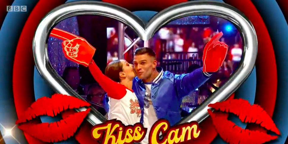 Strictly Come Dancing: Baseball routine 'kiss cam'