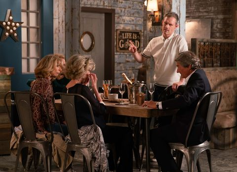 Nick Tilsley hosts a family meal at the Bistro in Coronation Street