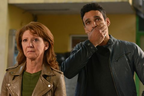 Carmel and Kush Kazemi see Shakil's poster has been defaced in EastEnders