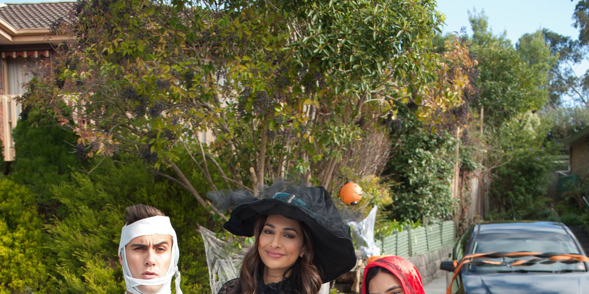 Aaron Brennan, Dipi Rebecchi, Kirsha Rebecchi and Nell Rebecchi on Halloween in Neighbours