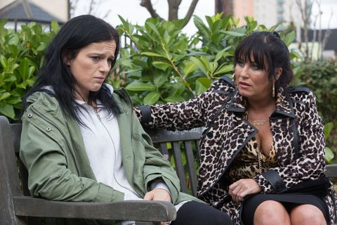 Hayley Slater is confronted by Kat Moon in EastEnders