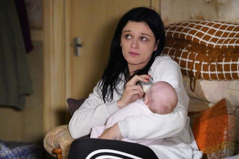 Hayley Slater tries to bond with her baby in EastEnders