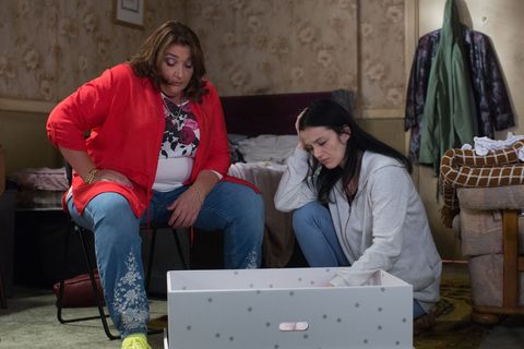 Bev Slater and Hayley Slater with the baby in EastEnders