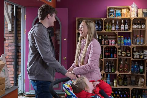 Tom Cunningham tries to support Peri Lomax in Hollyoaks