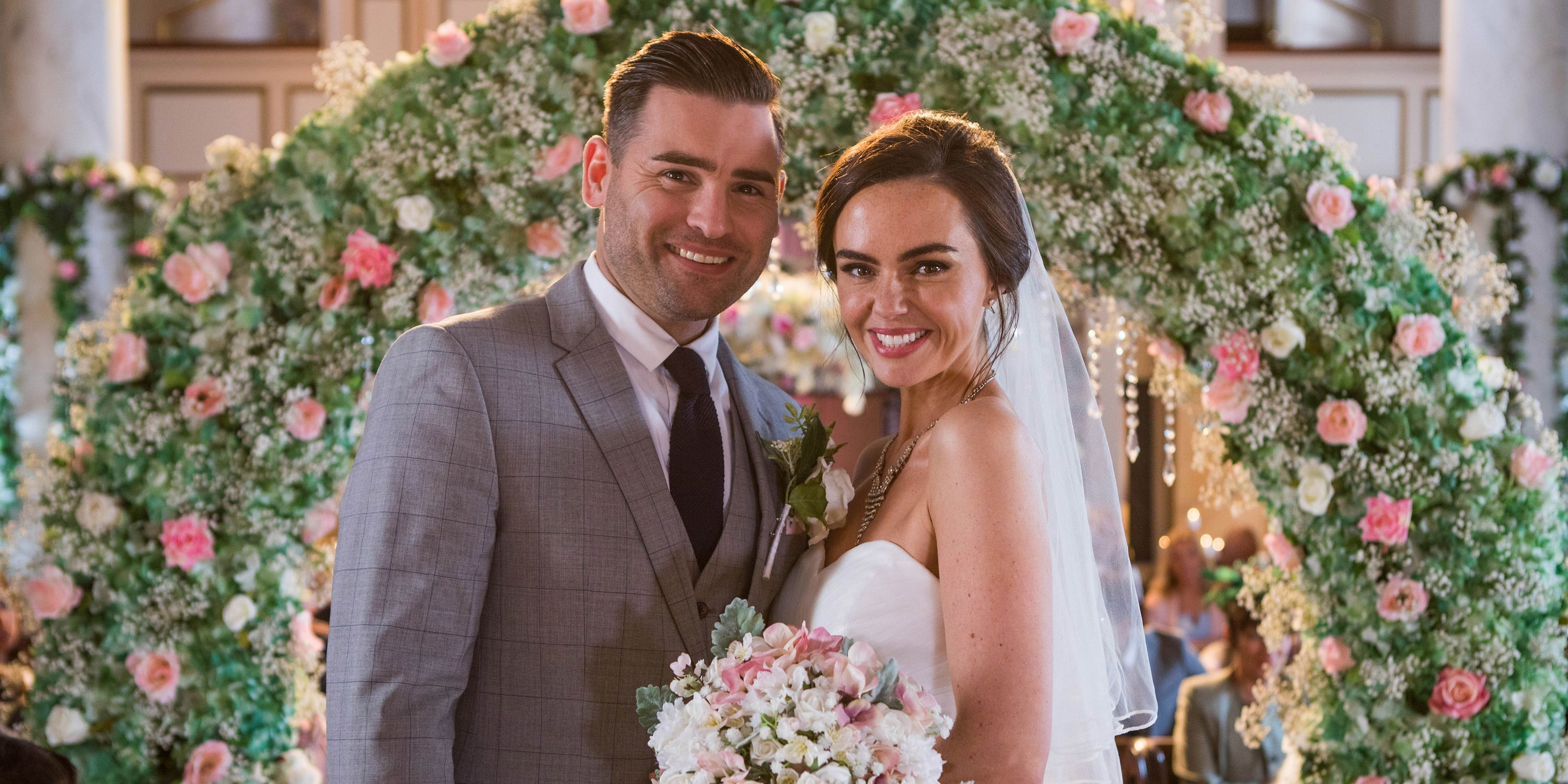 Russ Owen and Mercedes McQueen's wedding day in Hollyoaks