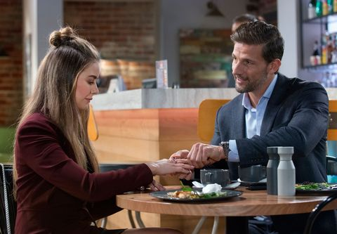 Pierce Greyson gives Chloe Brennan a ring in Neighbours