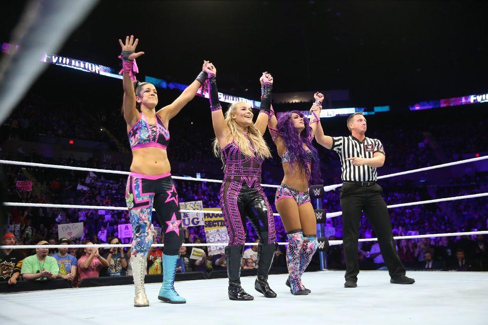 The Riott Squad vs Bayley, Sasha Banks, and Natalya