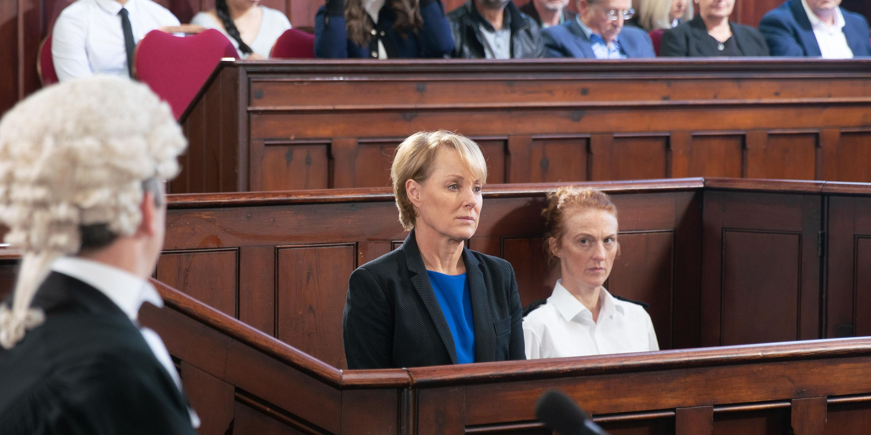 Sally Metcalfe appears in court in Coronation Street