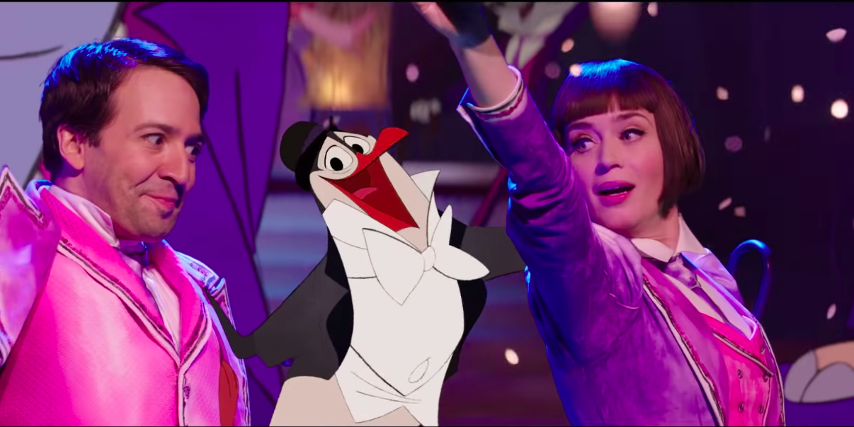 Lin-Manuel Miranda, Emily Blunt and an animated penguin in Mary Poppins Returns trailer