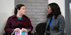 Mary Taylor and Angie Appleton ID a body in Coronation Street