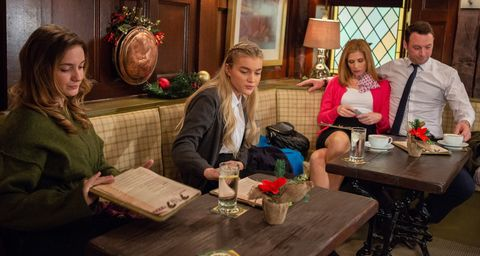 Bernice Blackstock and Liam Cavanagh are unaware that Gabby Thomas and Leanna Cavanagh are plotting in Emmerdale
