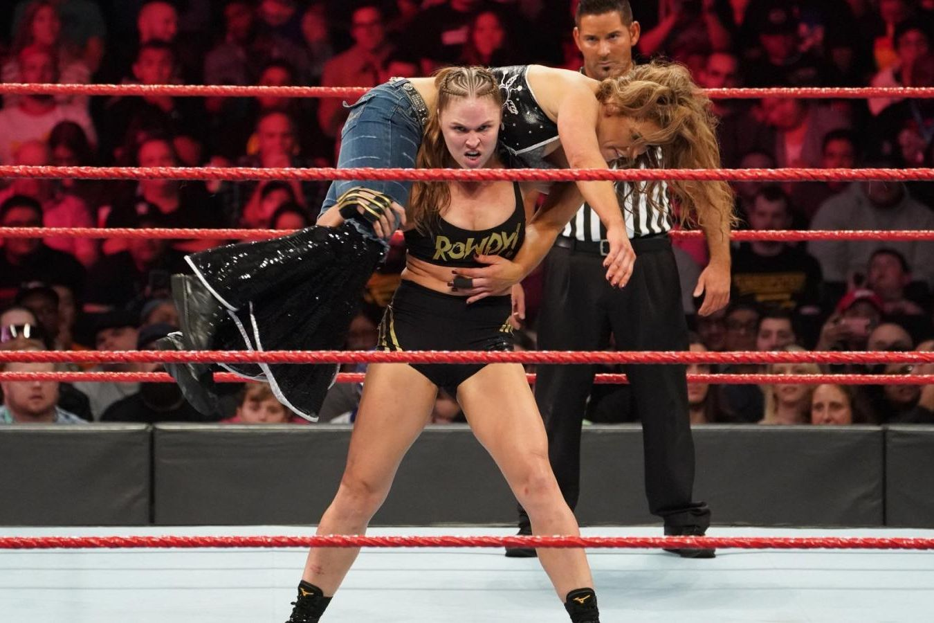 Ronda Rousey and Mickie James on WWE Monday Night Raw