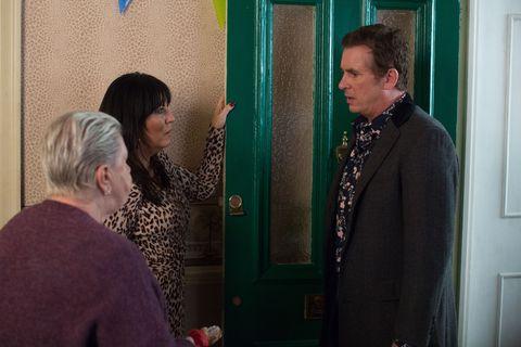 Alfie Moon is shocked as Jean Slater tries to kick him out in EastEnders