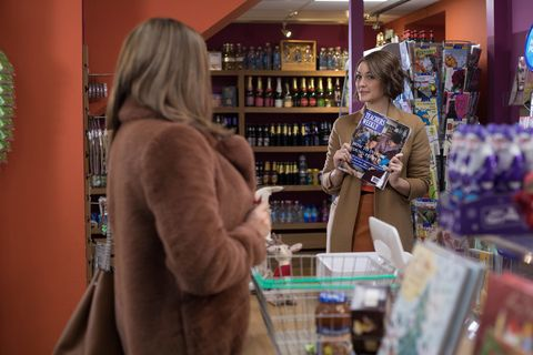 Sinead O'Connor and Sienna Blake talk at Price Slice in Hollyoaks