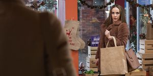 Sinead O'Connor and Sienna Blake cross paths at Price Slice in Hollyoaks
