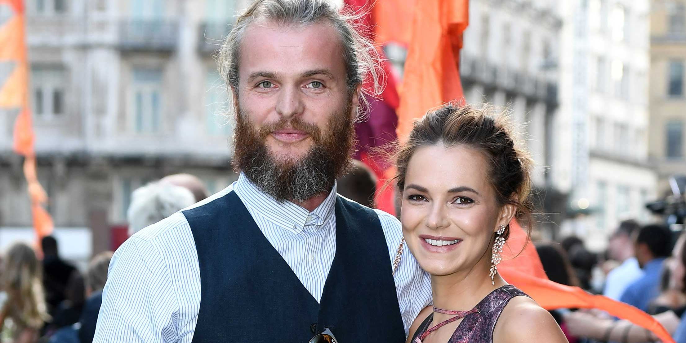 Marius Jensen and Kara Tointon at the Premiere of  'The Festival' at Cineworld Leicester Square, August 2018
