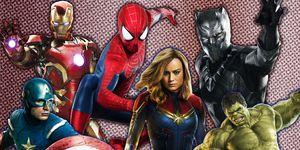 Black Panther, Captain Marvel, Captain America, Spiderman, Iron Man, Hulk, November 2018