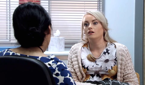 Sinead Tinker at the hospital in Coronation Street