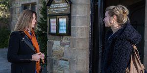 Harriet Finch is shocked to see Dawn in Emmerdale