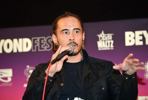 Dave Callaham speaks onstage during the Beyond Fest screening